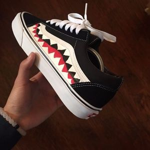 Custom Bape Shark Vans Old School Sz 8 Supreme Vlo
