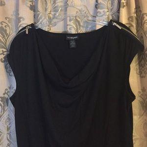 Lane Bryant Crowl Neck, Zipper Detail Shirt