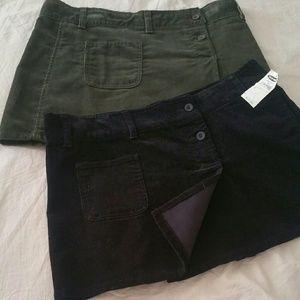 2 Pieces Corduroy Skirt, Midi, Size 10 NWT