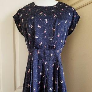 Dresses & Skirts - Silky Blue Unicorn Print Flare Dress- S