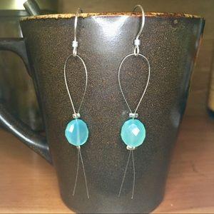 Aqua Chalcedony Sterling Shoulder Duster Earrings