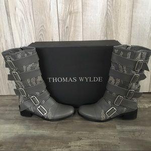 Thomas Wilde Gray Lambskin Studded Boots/NIB