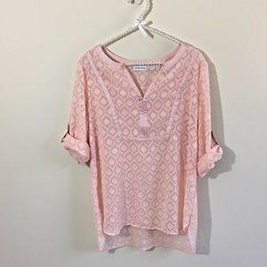 New York & Co. SZ M Blouse Peachy Pink