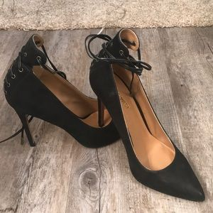 NINE WEST Ebba Ankle Tie Black Heel Pointy Toe