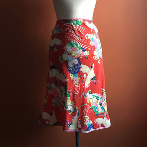 LUX Red Floral Asian Pattern Size S Skirt