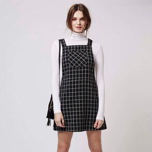 Topshop check pinafore dress black size 10 nwot