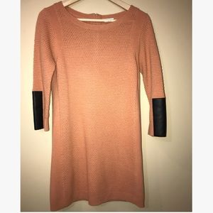Club Monaco Sweater Dress Faux Leather Elbow Patch