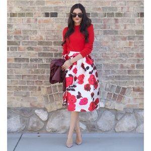 New Chicwish Rose print midi skirt