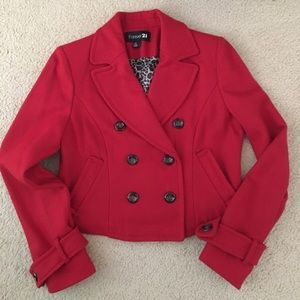Forever 21 red cropped pea coat leopard lining