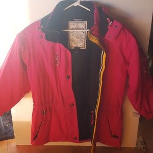 OBERMEYER hot pink coat with fabulous embrobrodry