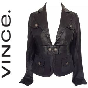 OFFER🔥VINCE LEATHER MIXED MEDIA JACKET M