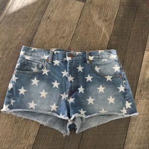 Star jean shorts