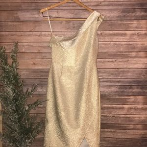 Top Shop gold one shoulder sparkle holiday dress