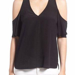 Trouvé V-Neck Cold Shoulder Silk Top