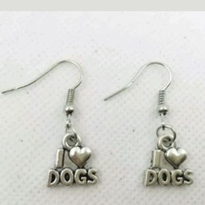 "Antique Silver ""I Love Dogs"" Earrings"