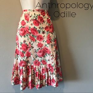 Anthropologie Odille floral Cotton Skirt, 4