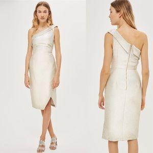 Topshop Tinsel One Shoulder Dress