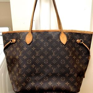 Louis Vuitton Brown and Tan Neverfull MM Tote