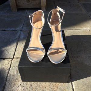 NWT Banana Republic Bare High Heel Sandal Silver
