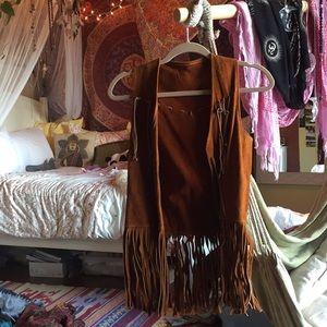 authentic vintage 60s/70s real leather hippie vest
