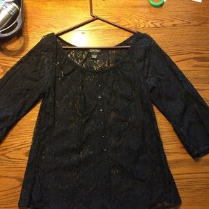 Lucky Brand lace button up blouse 3/4 sleeves.