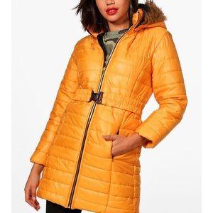 Mustard puff winter coat boohoo with hood