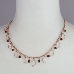 🆕 Copper & Brown Crystal Necklace Set