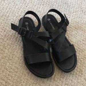 Castro black leather sandals