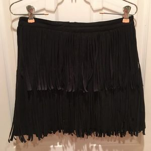 H&M BANGKOK black vegan suede fringe layer mini