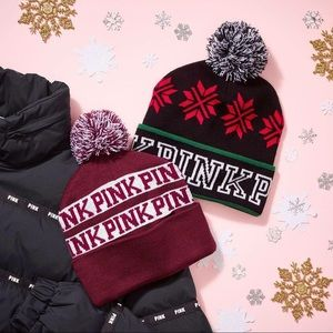 PINK VS Limited Edition Beanie Maroon/White