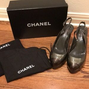 Dark silver Chanel sling backs