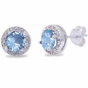Sterling Silver Halo Aquamarine Stud Earrings NWT