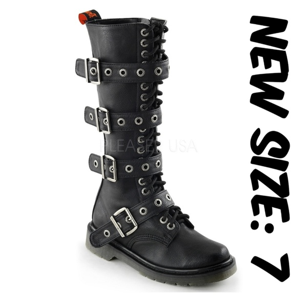 3fa96a53c50 Demonia Shoes - Womens Gothic Knee High Combat Boots Buckle