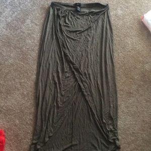 Olive Hi-Low Slit Skirt