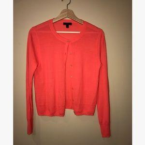 J. Crew 100% Merino Wool Orange Cardigan (Size M)