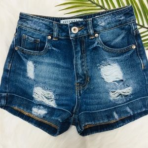 Bullhead Mom Shorts High-Rise Distressed Denim