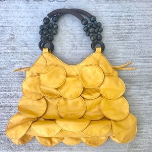 vintage YELLOW LEATHER purse handbag fringe hobo