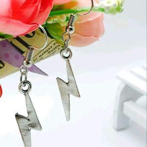 Antique Silver Dangling Lightening Bolt Earrings