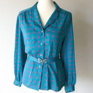 Vintage • belted blouse