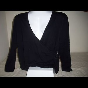 Black Wrap Top with low V-Neckline, Silver Buttons