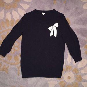 J Crew Black Bow Sweater XS
