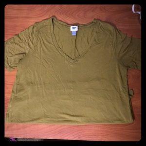 Olive Green V-Neck T-shirt