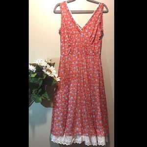FREE PEOPLE Red Blue Floral Hobo Maxi Dress Size L