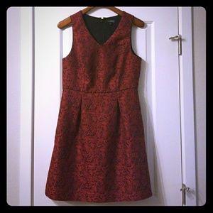 {The Limited} Red & Black Brocade V-neck Dress