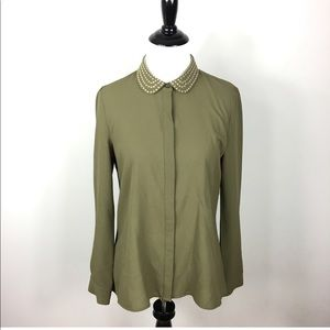 Cynthia Steffe Olive Green Studded Top Peter Pan S