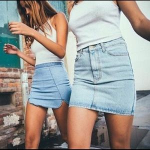 Brandy Melville High-Waisted Fitted Denim Skirt