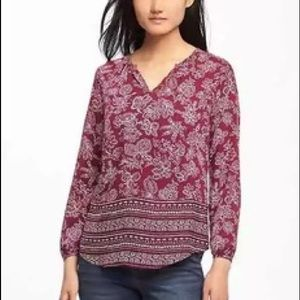 Old Navy relaxed shirred blouse in maroon.