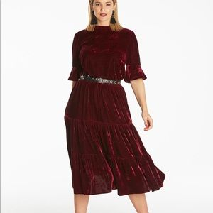 SimplyBe Velour tiered dress