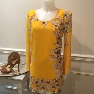 Flowy Umgee yellow with floral detail mini dress