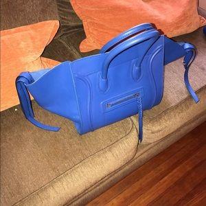 AUTHENTIC CELINE ROYAL BLUE LEATHER PHANTOM BAG